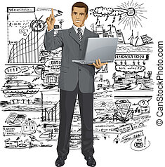 Vector Business Man Shows Something With Finger