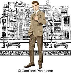 Vector Business Man Shows Well Done - Vector hipster...