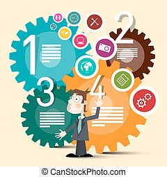 Vector Business Man with Colorful Cogs and Web Circle Icons