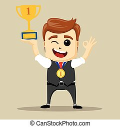 Vector business man with prize. Victorious Businessman.