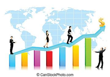Vector Business People waliking on Bar graph