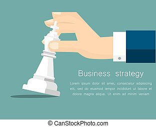 Vector business strategy concept in flat style, male hand holding chess figure - planning and management