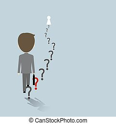 Vector business success concept businessman walking on question mark going to the door of keyhole shape