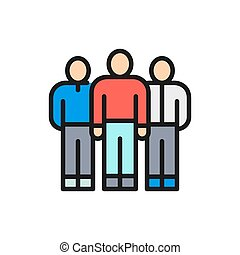 Vector business team, people group, company workers flat color line icon.