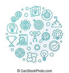 Vector Business Values blue round outline illustration