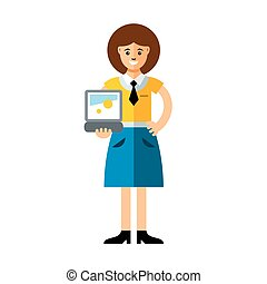 Vector business woman using laptop. Flat style colorful...