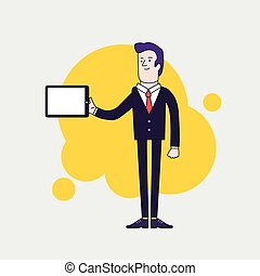 Vector businessman character holding tablet. Linear flat design.