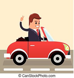 Vector. Businessman driving. Business man in the car.