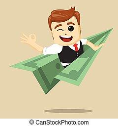 Vector businessman flying on dollar plane.