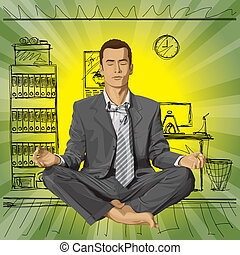 Vector Businessman in Lotus Pose Meditating