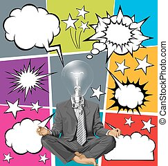 Vector Businessman in Lotus Pose Meditating With Bubble...