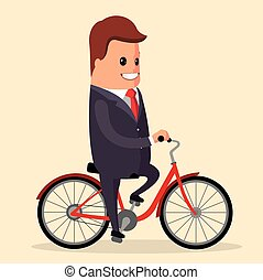 Vector, businessman on a bike. Happy manager character.
