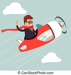 Vector. Businessman on airplane.