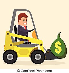 Vector businessman or manager driving a loader. truck with money. Flat stock illustration.   .