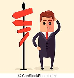 Vector Businessman or manager have to choose between different routes. He is looking on a road sign with directions