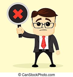 Vector businessman or manager holds a plate. Man in business suit. Holding in his hand a sign.