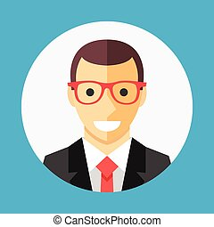 Vector businessman profile icon, man avatar picture in white...