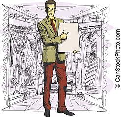 Vector Businessman With Empty Write Board - Vector ...