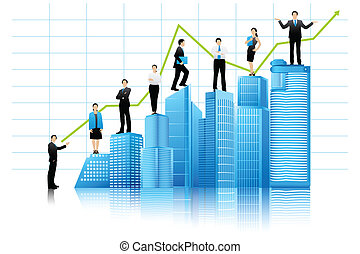 Vector Businesspeople on Building