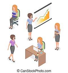 vector, businesswomen., conjunto, isométrico, joven