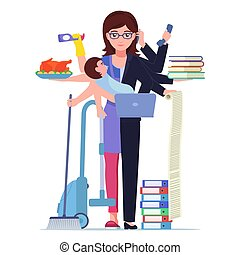Vector busy multitasking woman mom