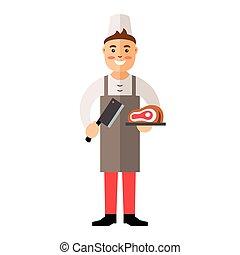 Vector Butcher. Flat style colorful Cartoon illustration. -...