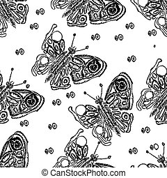 Vector  butterflies. Hand drawn illustration. Seamless pattern.