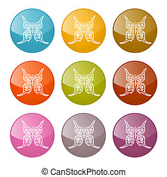 Vector Butterflies Icons Colorful Set