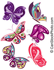 vector butterflies in colors 2