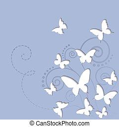 Vector butterflies on a blue sky background
