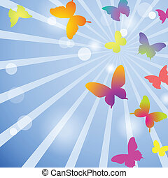 Vector butterflies on a blue sky background
