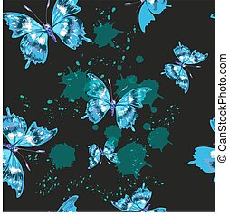 Vector butterflies pattern. Abstract seamless background on black