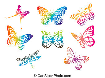 vector butterflies - set of multicolored butterflies, vector