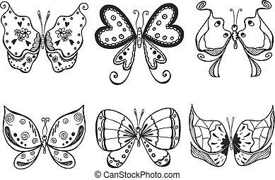 vector butterflies set