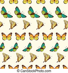 Vector Butterflies Stripes Seamless Pattern