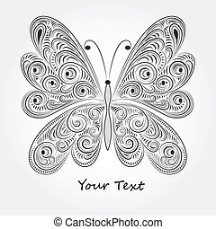 vector vintage butterfly with tracery