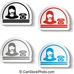 Vector button of contact - semicircle design, woman, operator on the phone