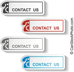 Vector button of contact us - rectangle design with old...