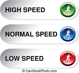 Vector button of speed - low, normal, high - illustration