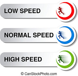 Vector button of speed - low, normal, high