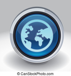 Vector button with internet icon