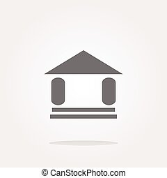vector button with summer home, web icon sign