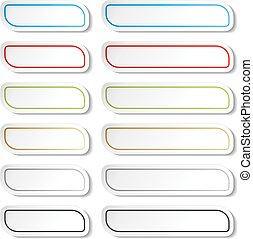 Vector buttons. Black, green, blue, golden, grey and red lines on white simple stickers, rectangle with rounded corners.