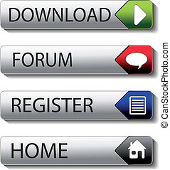 Vector buttons - download, forum, register, home