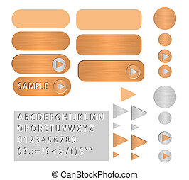 vector buttons polished copper