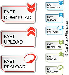 Vector buttons with arrow - fast download, reload, upload