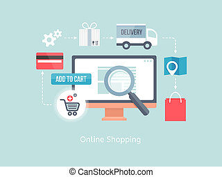 buying online and e-commerce - vector buying online and e-...