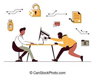 vector, bypasses, bescherming, computerkraker, illustratie, computer