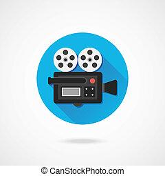 vector, cámara, vídeo, icono