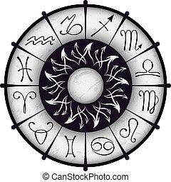 vector, círculo, zodiacal
